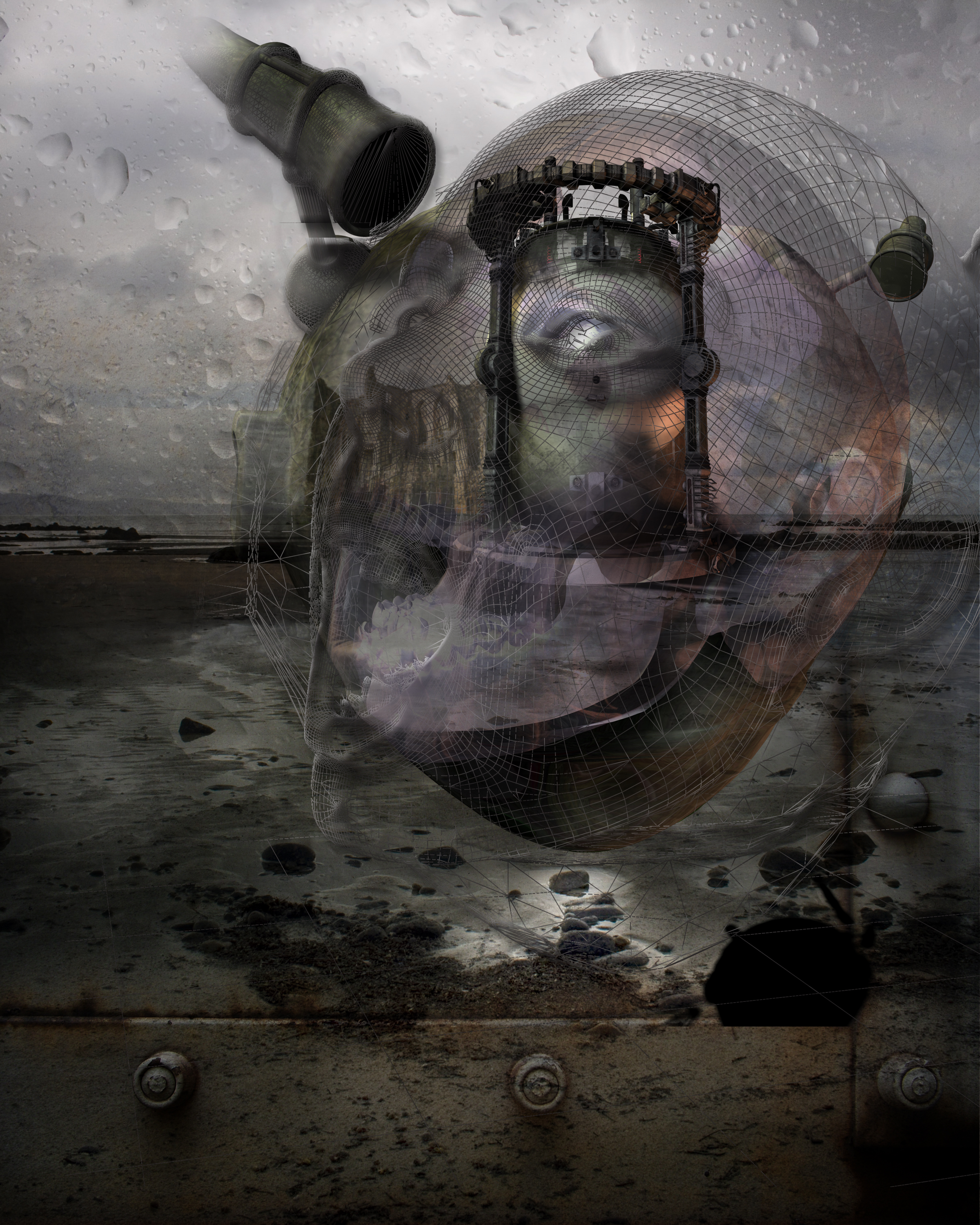 Surreal image of rainy gray beach framed at bottom with rusted metal plate. Large glass steampunk pressure chamber in distance, visible through open-mouthed female head rendered in wireframe, with wireframe skull underneath. The head looks through the wrong end of a piece of telescope equipment attached to itself.