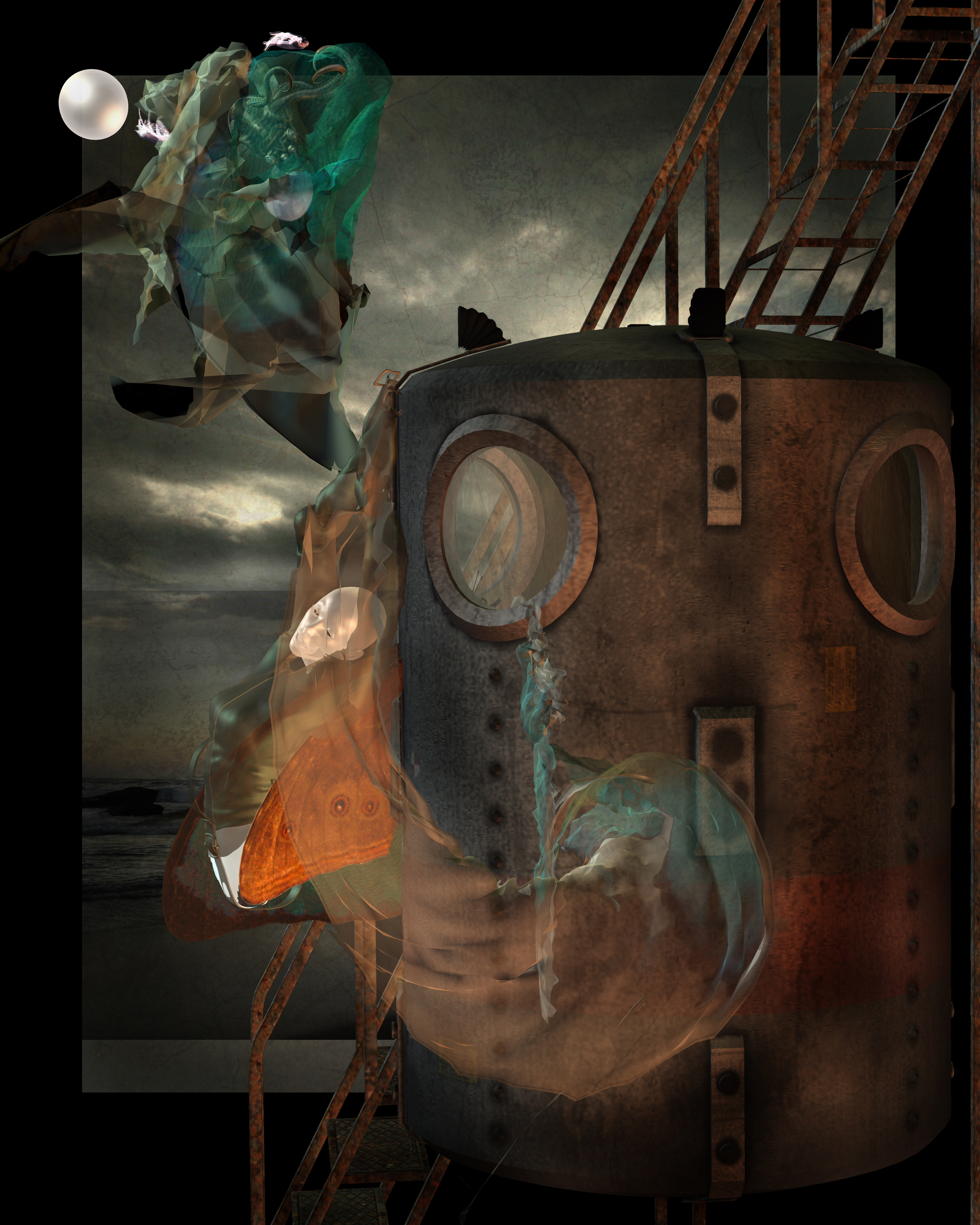Surreal image of cocoon-like woman attached to side of steampunk pressure chamber, rusty colors. Stormy sky and beach in background. Peacock green scarf with half hidden objects inside floats in air, together with large pearl.