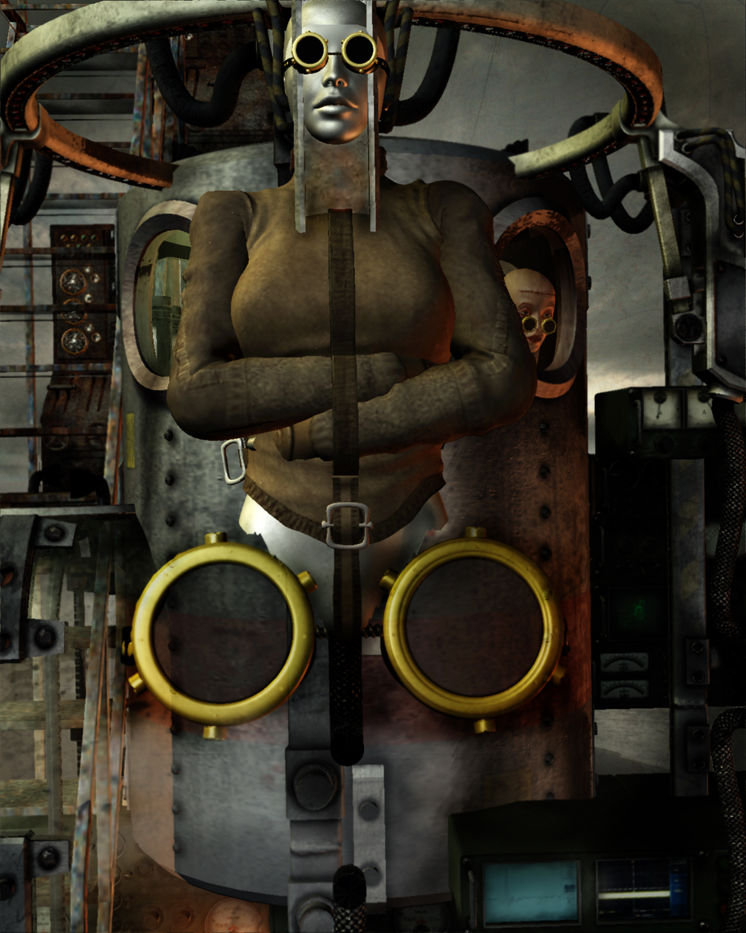 Confrontational-appearing steampunk cyborg of woman with metallic skin in straitjacket, wearing black-lensed goggles, attached to pressure tank, larger goggles at hip level. Various vacuum tube instruments attached to tank. Woman's face with same features as cyborg visible at round tank window as she peers from inside. Stormy sky in background.