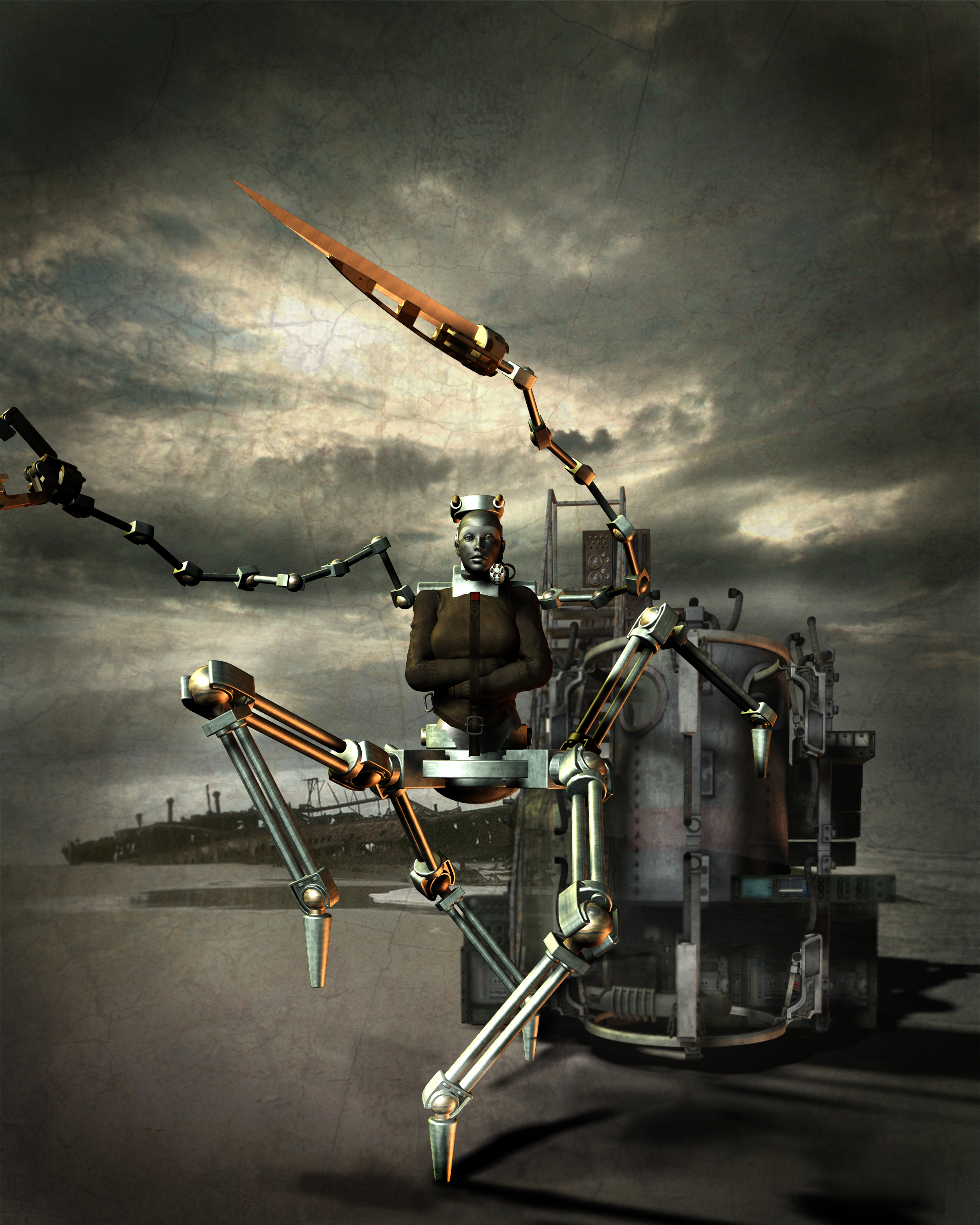 Bio-mech hybrid of straitjacketed metallic-skinned woman with 4 mechanical legs and 2 waving upper limbs, one with grasper-claw, one with blade, striding spider-like away from large steampunk pressure tank assemblage on windswept beach. Rusted shipwreck in background.